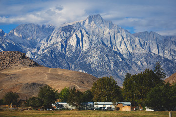 View of Lone Pine Peak, east side of the Sierra Nevada range, the town of Lone Pine, California, Inyo County, United States of America, Inyo National Forest