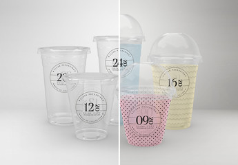 Clear Cold Drink Cups Packaging Mockup