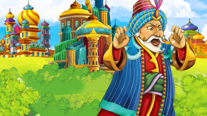 cartoon scene with medieval arabic kingdom prince or king traveling - far east ornaments - the stage for different usage - illustration for children