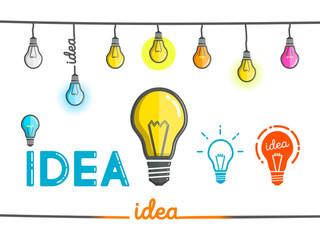set of illustrations of bulbs of ideas