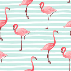 Seamless pattern with flamingo. Vector summer background.