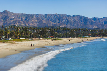 Zelfklevend Fotobehang Centraal-Amerika Landen Beautiful view of Santa Barbara ocean front walk, with beach and marina, palms and mountains, Santa Ynez mountains and Pacific Ocean, Santa Barbara county, California, United States, summer sunny day