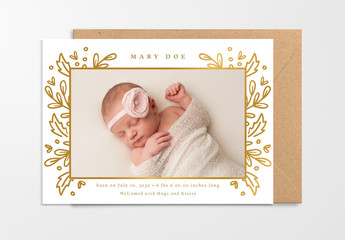 Baby Announcement Layout with Gold Ornamentation