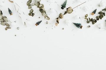 Christmas / New Year festive composition on white background. Flat lay, top view blog hero header.