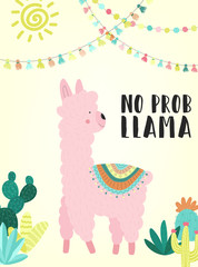 Vector illustration of a hand-drawn pink alpaca in national South American clothing with decorations, cacti, sun, inscription No prob llama. Image for children, textiles, clothing, cards, invitation.