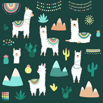 Vector illustration of a hand-drawn collection of white llamas cacti, mountains, clothes, ornaments on the dark background. Image on South American themes for children, textiles, cards, invitations.