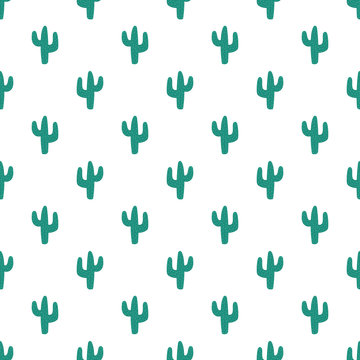 Seamless pattern of hand-drawn cacti. Image of a green cactus with prickles. Illustration for children, room, textile, clothes, cards, wrapping paper.