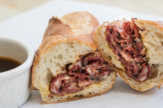 Pastrami and cheese sandwich