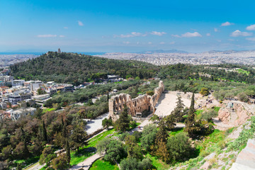 cityscape of Athens of Herodes Atticus amphitheater ruines of Acropolis, Athens, Greece