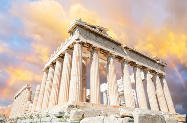 Fototapete - Parthenon temple over sunset sky background, Acropolis hill, Athens Greece