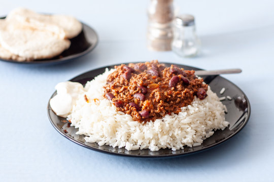 A plate of home-made chilli con carne with white long grain rice