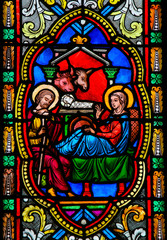 Wall Mural - Nativity Scene - Stained Glass in Monaco Cathedral