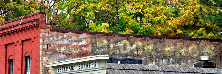 Beekmans exterior brick with ghost sign