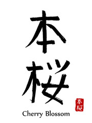 Hand drawn Hieroglyph translate Cherry Blossom . Vector japanese black symbol on white background with text. Ink brush calligraphy with red stamp(in japan-hanko). Chinese calligraphic letter icon