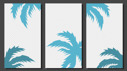 Social Media Stories Templates With Palm Leaves Vector Graphic