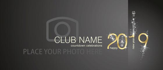 New Year 2019 gold firework countdown celebrations club invitation black background back side