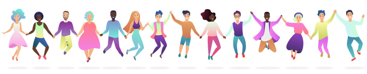 People holding hands in a jumping together silhouette vector illustration.