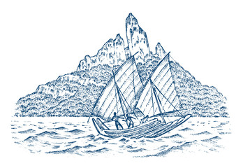 Sailboat in the sea on a background of mountains, summer adventure, active vacation. Seagoing vessel, marine ship or nautical caravel. engraved hand drawn in vintage style.