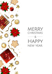 Christmas and New Year background. Xmas card. Vector Illustration.