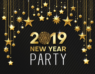 New Year 2019 party. Shiny poster or invitation card with golden stars.