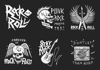 Set of Rock and Roll music symbols with Guitar, Wings and Skull. labels, logos. Heavy metal templates for design t-shirt, night party and festival. Hand drawn. Engraved sketch.