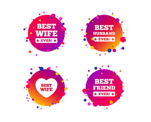 Best wife, husband and friend icons. Heart love signs. Award symbol. Gradient circle buttons with icons. Random dots design. Vector