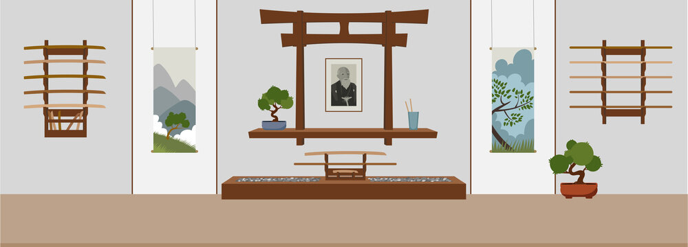 Dojo in asian style. Suitable for oriental martial arts such as aikido, judo, karate, jiu-jitsu, budo. Flat vector Illustration.