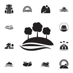 trees on a hill icon. Detailed set of landscapes icons. Premium graphic design. One of the collection icons for websites, web design, mobile app