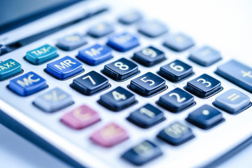 Calculator on white background. Finance development, Banking Account, Statistics, Investment Analytic research data economy, Stock exchange trading, Business company concept.