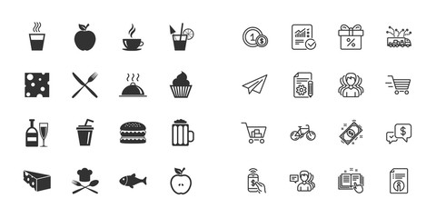 Set of Food and Drinks icons. Restaurant meal, Wine and Cheese signs. Burger, Coffee and Beer symbols. Paper plane, report and shopping cart icons. Group of people. Vector