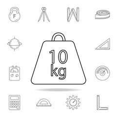 Weight symbol 10 kilograms icon. Detailed set of measuring instruments icons. Premium graphic design. One of the collection icons for websites, web design, mobile app