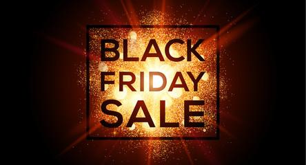 Golden flash glitter splash Black Friday Sale vector horizontal banner. Discount coupon template