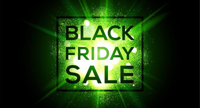 Black Friday sale vector wide banner on green flash background