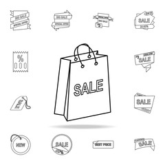 shopping bag with a sale sign icon. Detailed set of clearance sale icons. Premium graphic design. One of the collection icons for websites, web design, mobile app