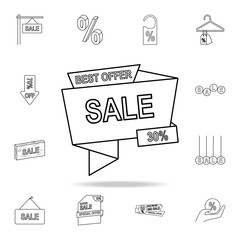 best offer 30 of discounts icon. Detailed set of clearance sale icons. Premium graphic design. One of the collection icons for websites, web design, mobile app