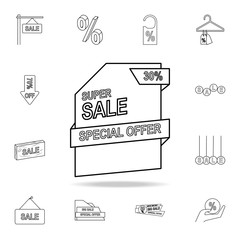 special offer 30 of discounts icon. Detailed set of clearance sale icons. Premium graphic design. One of the collection icons for websites, web design, mobile app