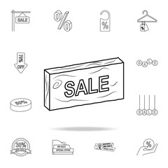 sale on a wooden stick icon. Detailed set of clearance sale icons. Premium graphic design. One of the collection icons for websites, web design, mobile app