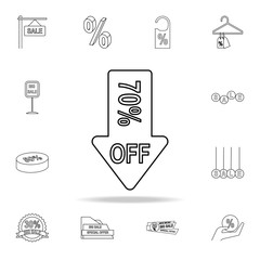down arrow discounts 70 icon. Detailed set of clearance sale icons. Premium graphic design. One of the collection icons for websites, web design, mobile app