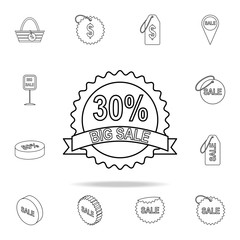 signboard large sale 30 icon. Detailed set of clearance sale icons. Premium graphic design. One of the collection icons for websites, web design, mobile app