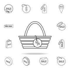 basket with a sign percentage icon. Detailed set of clearance sale icons. Premium graphic design. One of the collection icons for websites, web design, mobile app