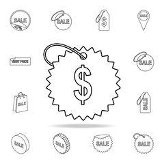 dollar sign icon. Detailed set of clearance sale icons. Premium graphic design. One of the collection icons for websites, web design, mobile app