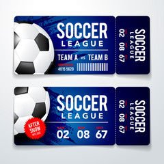 Vector illustration set of football, soccer modern flat ticket card element graphic design with realistic Ball