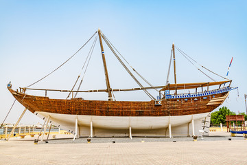Fateh Alkhair Ship at Al Qanjah Boat Yard in Sur, Oman.