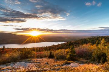 Sunset sun star in Acadia National Park