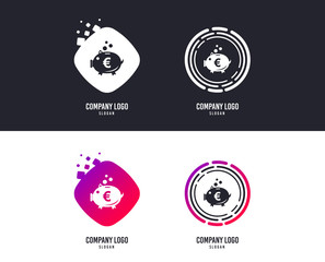 Logotype concept. Piggy bank sign icon. Moneybox euro symbol. Logo design. Colorful buttons with icons. Vector