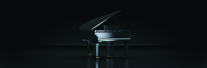 Grand piano in dark background. 3d rendering