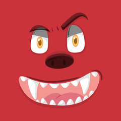 A red monster face
