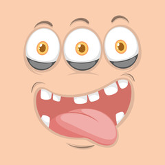 Three eyed monster face