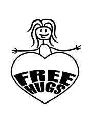 frau mädchen herz free hugs kostenlose umarmungen lustig liebe herzlich begrüßen gut sozial spruch kuscheln design logo text