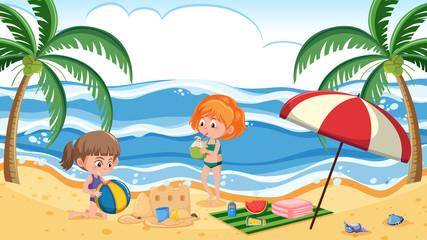 Children at summer beach